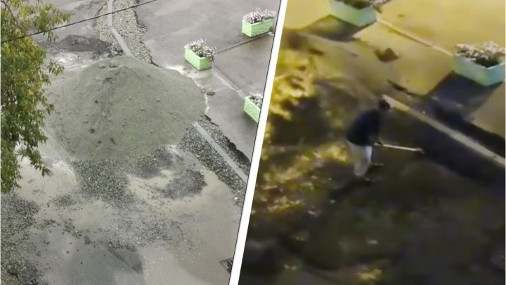 Житель Уралмаша сам закопал яму на дороге, которую игнорировали рабочие