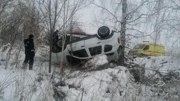 «Рено» влетел в дерево и перевернулся на крышу в Советском районе