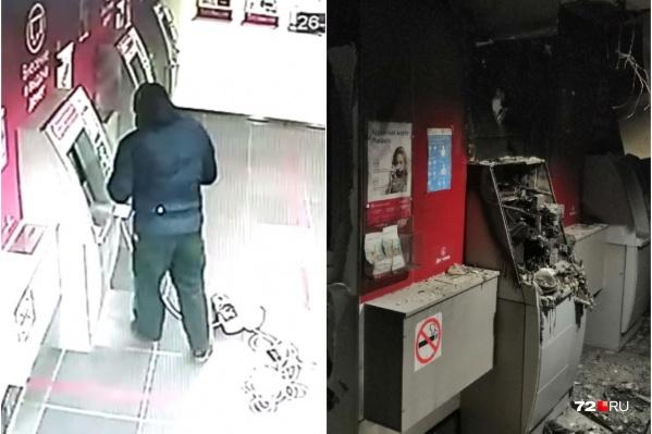 Неизвестный мужчина уничтожил банкомат