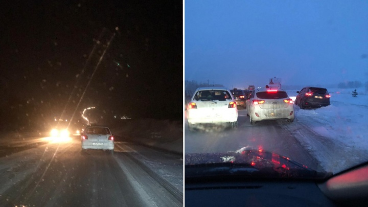 «Дорога ад, как стекло»: на трассе под Новосибирском собралась многокилометровая пробка