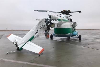 У вертолета повреждена хвостовая балка