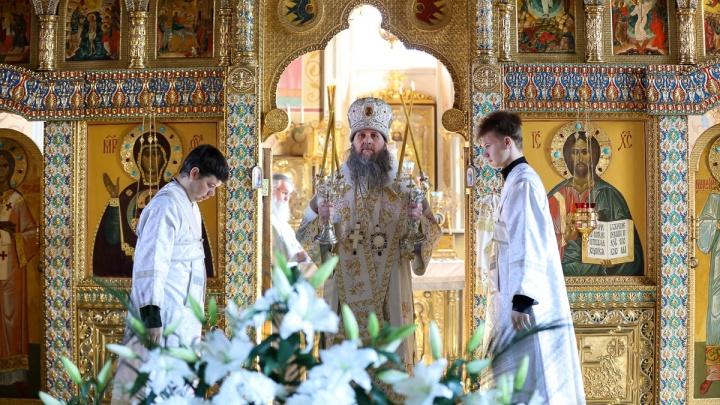 Трансляция ночного пасхального богослужения в Александро-Невском кафедральном соборе Кургана