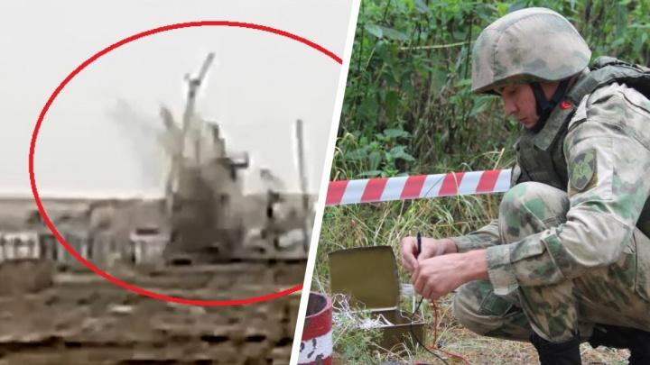 В Тюмени рабочие сняли на видео уничтожение боевого снаряда на стройке
