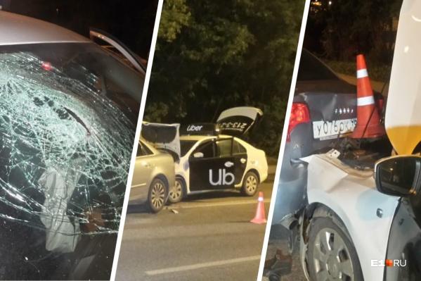 Ночью в Екатеринбурге столкнулись три легковушки, пострадал пассажир такси