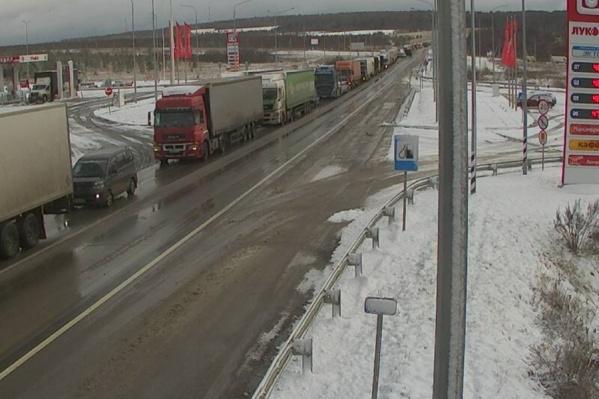 Так сегодня утром выглядел участок М-5 в районеКропачёво