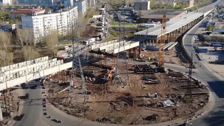 В Самарской области из-за строительства трёхуровневой развязки перенесли опоры ЛЭП