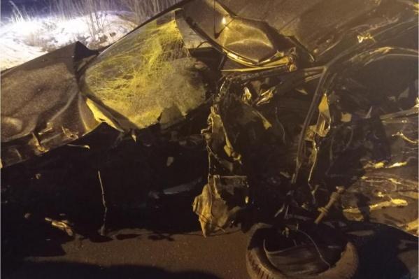 От удара в дерево машина сильно пострадала