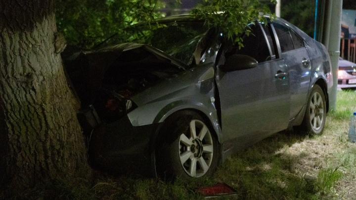 На Красном Пути «Ниссан» врезался в дерево — пострадали пять человек