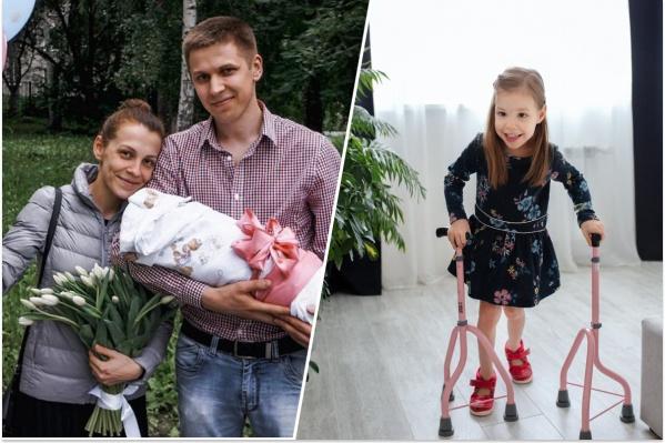 Саша на руках у родителей в 2015-м и сейчас