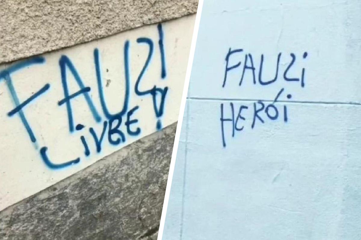 Такие надписи появляются на стенах в Рио-де-Жанейро: «Свободу Фаузи» (слева) и «Фаузи герой» (справа)