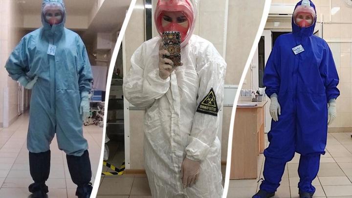 Показ мод: врач госпиталя в больнице Середавина показала модели защитных костюмов для работы с COVID