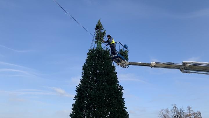 В Самаре Маяковский спуск украсили 12-метровой елкой