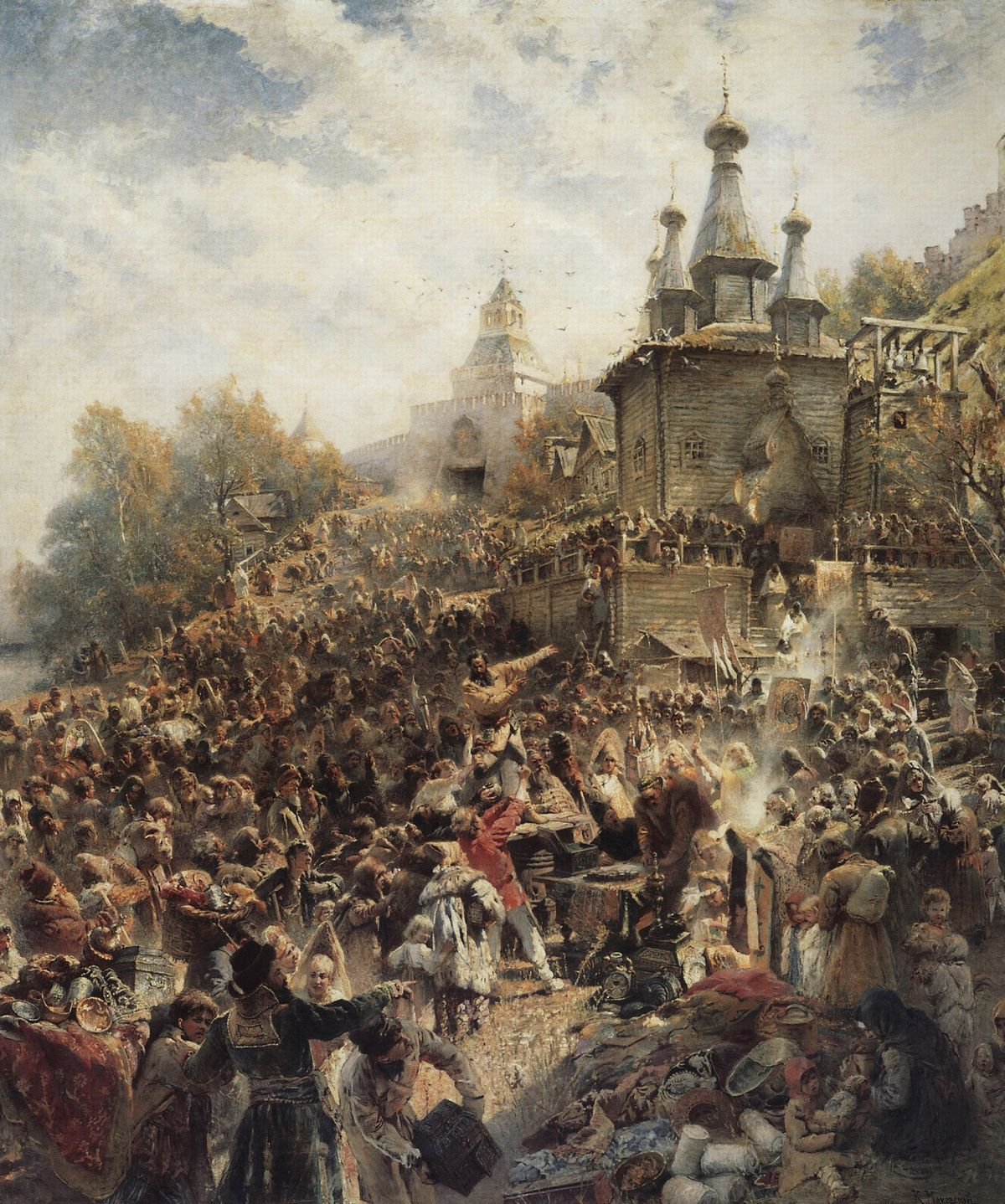 Одна из самых известных картин о Смуте — «Воззвание Минина к нижегородцам» (1896). Это вторая по величине картина в России