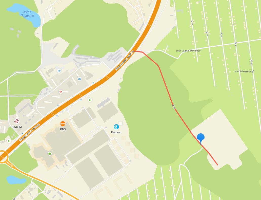 Так на картах обозначена существующая дорога