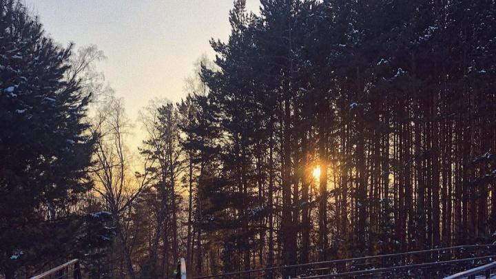 Небо над Красноярском озарил огненно-оранжевый закат