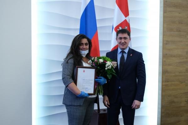 Ксения Макарова получила благодарственное письмо от Дмитрия Махонина