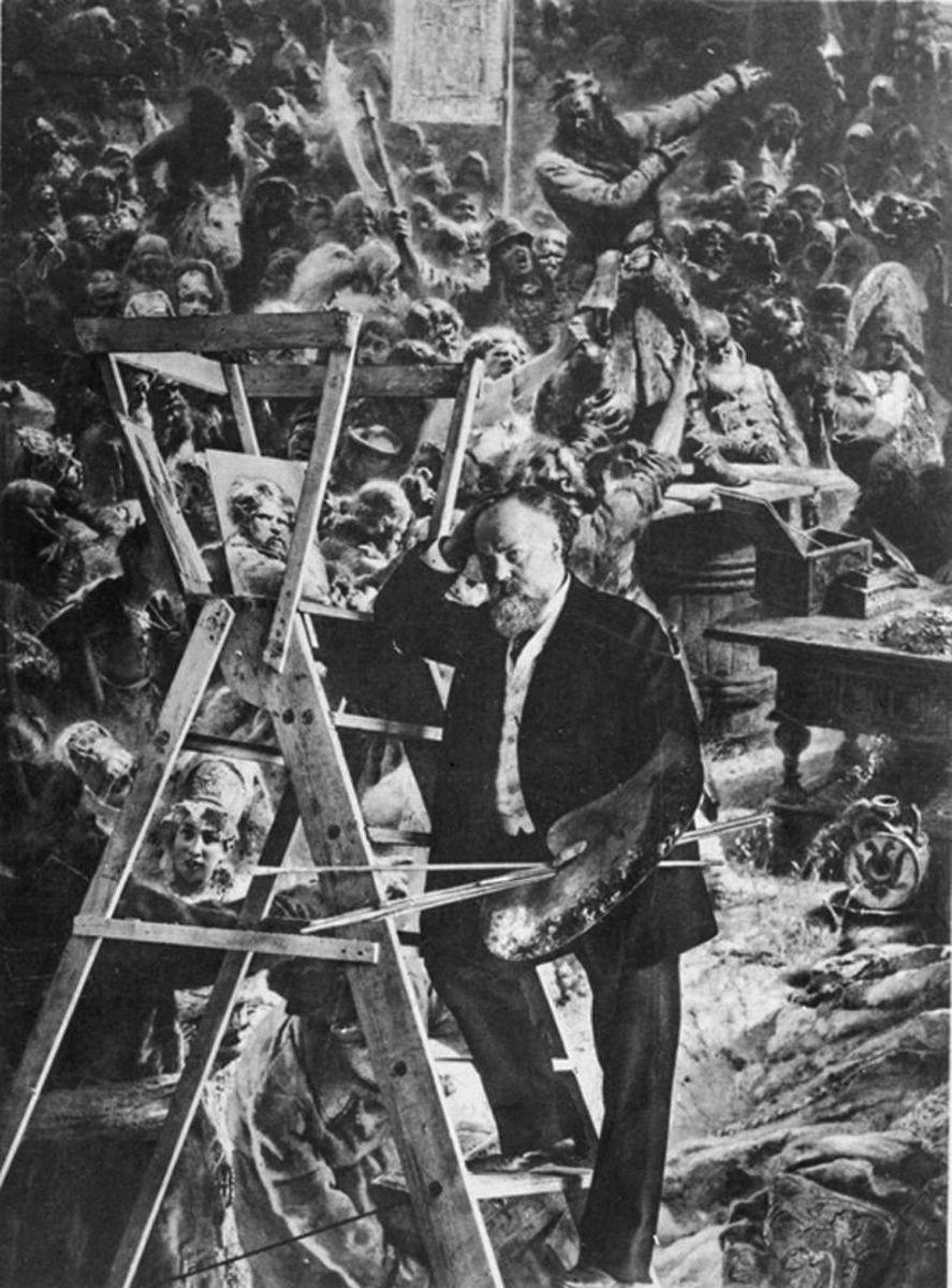 Картину «Воззвание Минина к Нижегородцам» Маковский писал в съемной студии в Париже. На работу ушло почти 20 лет&nbsp;<br>