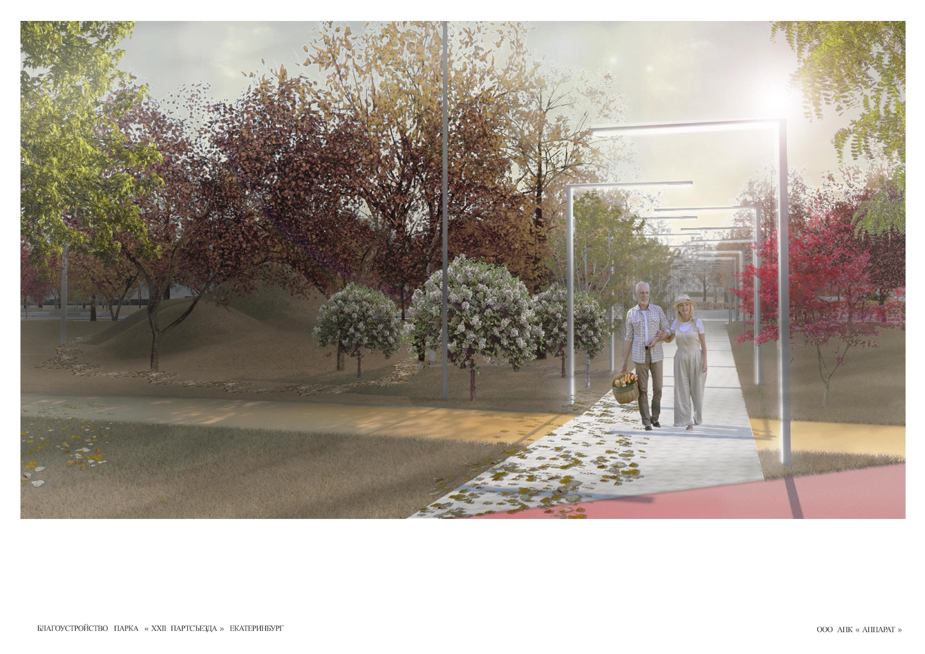 Слева — искусственные горки, тропинка с такими фонарями соединит главную аллею и переулок Гаринский