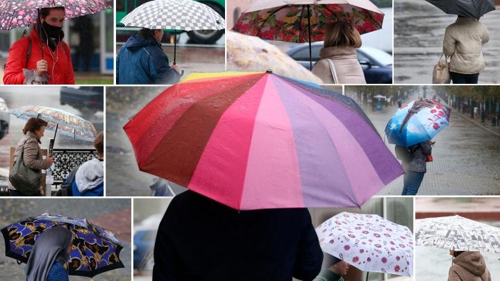 Совсем не суровые. Смотрим, какие зонты достали челябинцы в нескончаемый дождь