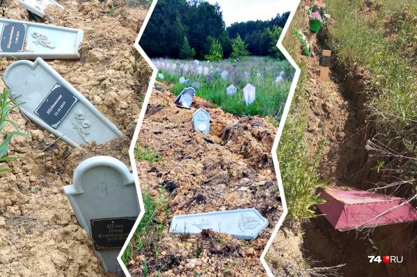 Разбросанные плиты и гробы челябинцы заметили на Покровском кладбище
