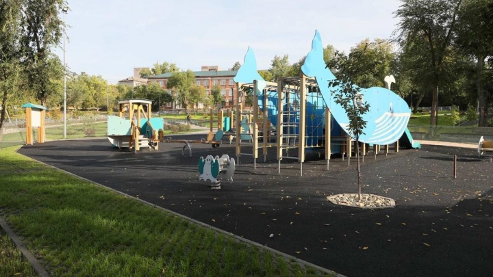 Хоккейная калда и кит на детской площадке: как в Самаре отремонтировали сквер Овчарова