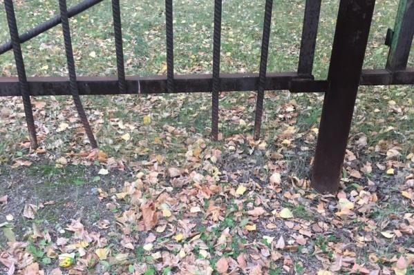 Девочка выбралась за пределы площадки через дыру в заборе