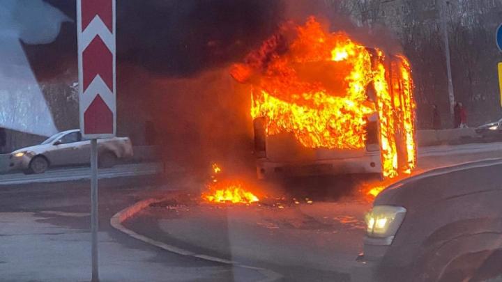 Дым на весь квартал: возле «Клевер-парка» сгорел автобус