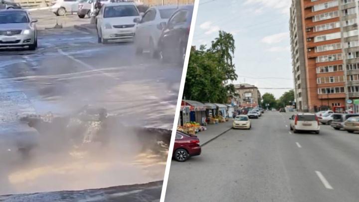 На улице Ольги Жилиной обвалилась дорога — яму залил кипяток