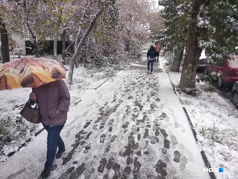 Многие спасаются от снега зонтиками