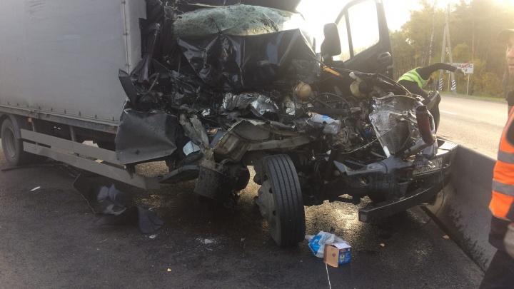 В Гнилицких двориках грузовик врезался в фуру. Образовалась пробка