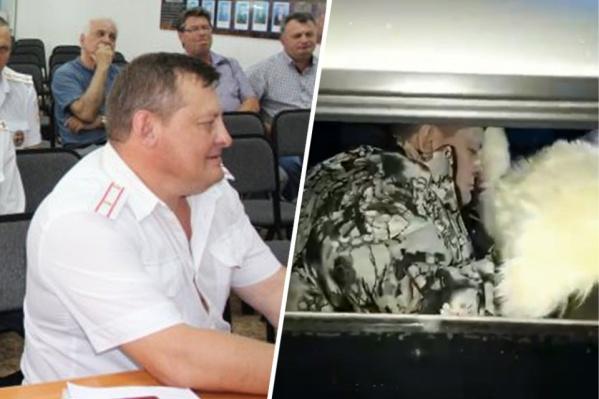Майор полиции Юрий Захваткин на службе и на видео, которое снял второй участник ДТП