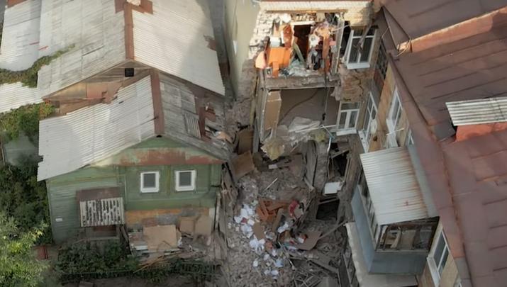 Видео: самарец показал с высоты, что осталось от рухнувшего дома на Галактионовской
