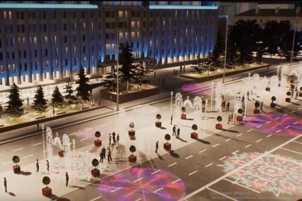 Вариант праздничного освещения проспекта в районе Октябрьской площади: фрагмент видеопрезентации