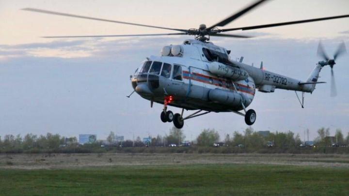 В Зауралье прибыл вертолет МИ-8 МЧС России для мониторинга ситуации с природными пожарами