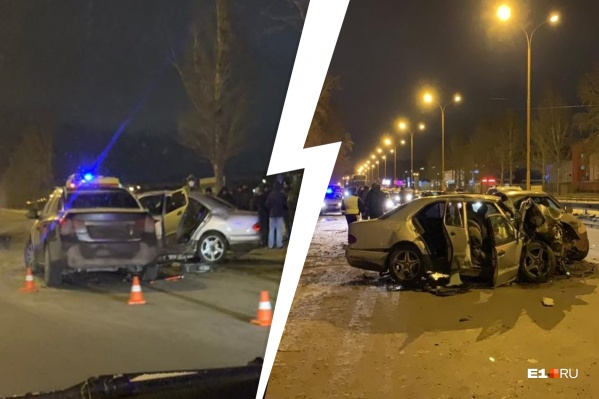Mercedes Benz наехал на&nbsp;бордюр, врезался в дерево и отлетел в ехавший Chevrolet Cruze<br>
