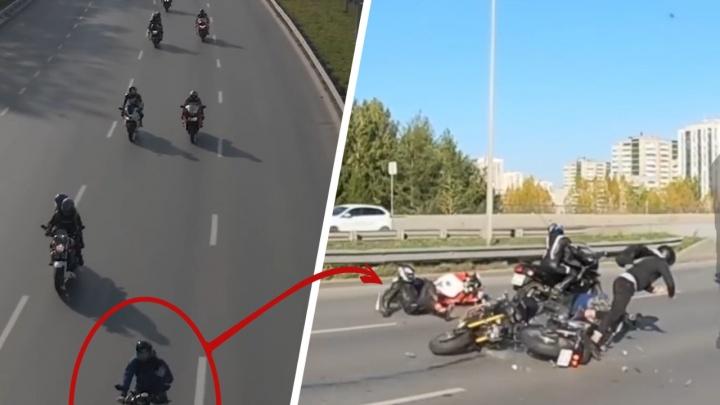Виновник жесткого столкновения с байкером на Объездной перед ударом махал квадрокоптеру: видео