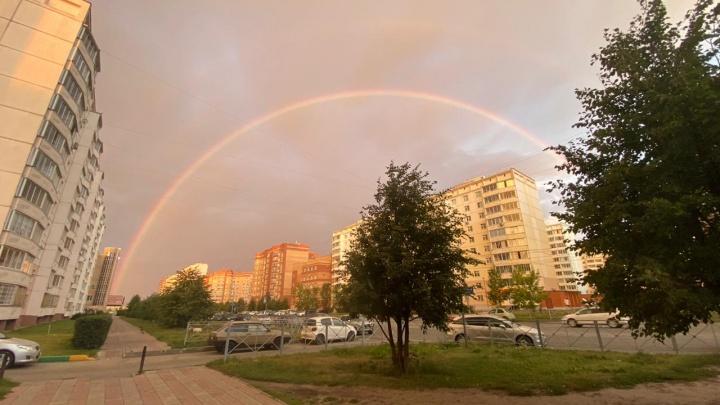В Новосибирске рано утром появилась восхитительная двойная радуга