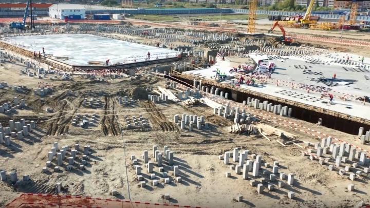 Нулевой этап строительства «Арены Омск» показали с высоты птичьего полета