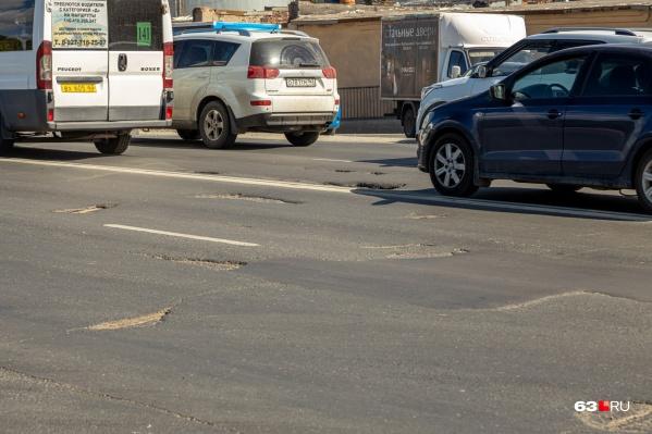 Вот так выглядит дорога между путепроводом «Аврора» и Южным мостом