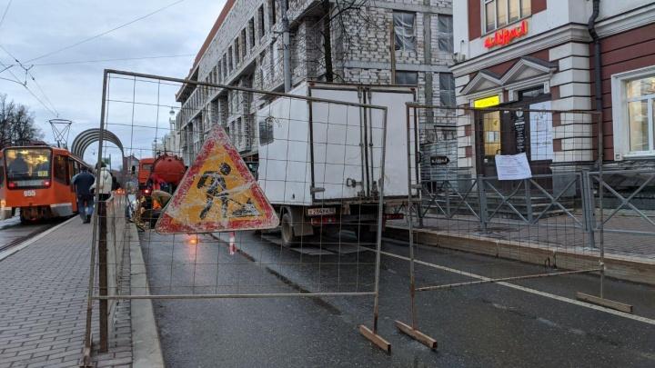 В Перми на сутки перекрыли движение по улице Ленина для ремонта труб