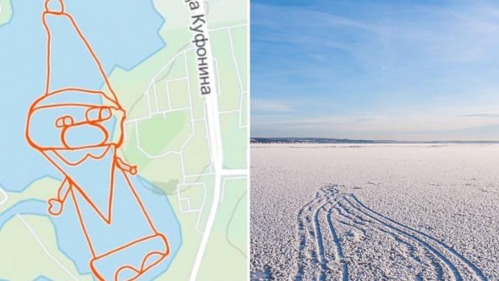 Пермяк с помощью GPS нарисовал на льду 600-метрового Деда Мороза