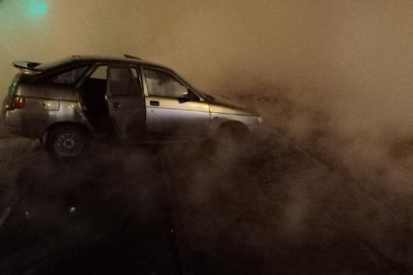 К счастью, в машине никто не пострадал