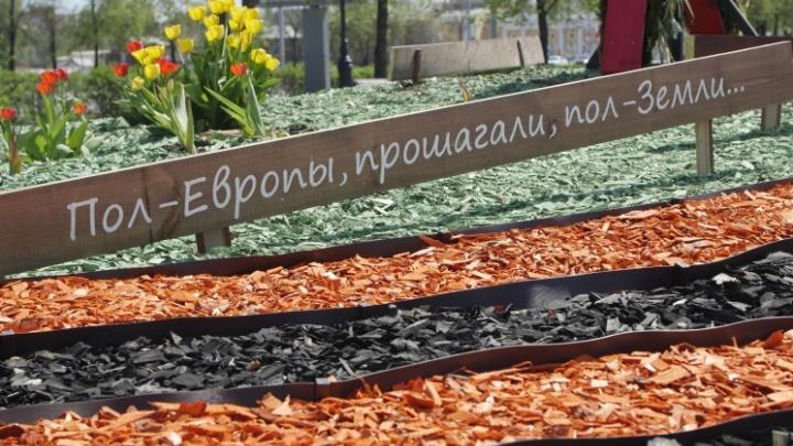 На цветники в центре Челябинска потратили 300 тысяч и наделали ошибок на табличках к 9 Мая