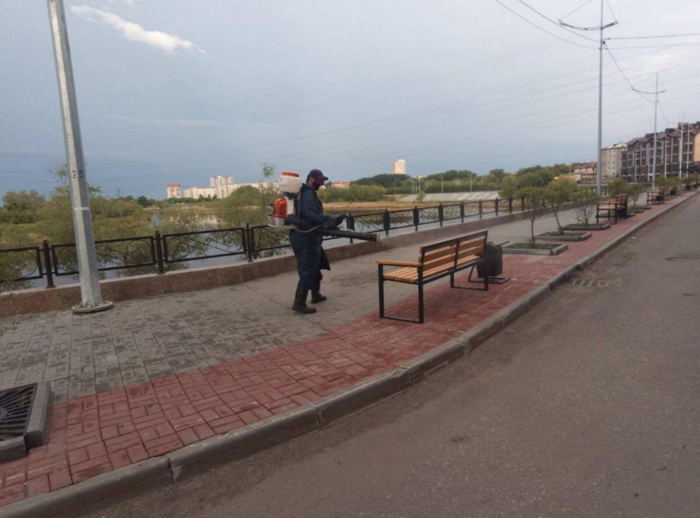 Дезинфицировали общественные пространства в границах улиц Красина, Половинской, Станционной и Куйбышева
