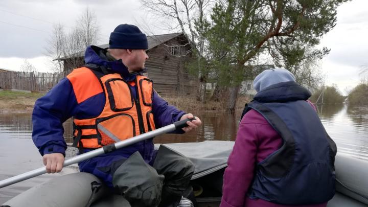 Спасатели МЧС помогли жительнице Шенкурского района вернуться домой после паводка. Видео
