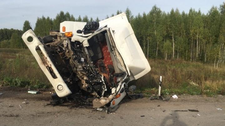 Прицеп с бревнами сорвался с КАМАЗа и врезался в фургон: под Кунгуром произошло серьезное ДТП