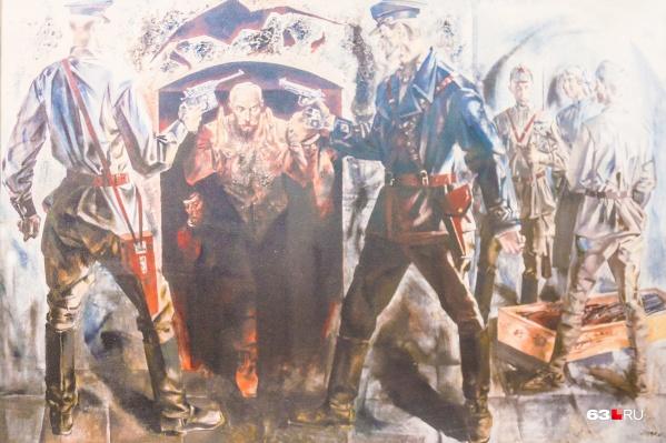 Картина, рассказывающая о событиях начала 1919 года: самарские чекисты захватили оружейный склад в Иверском монастыре