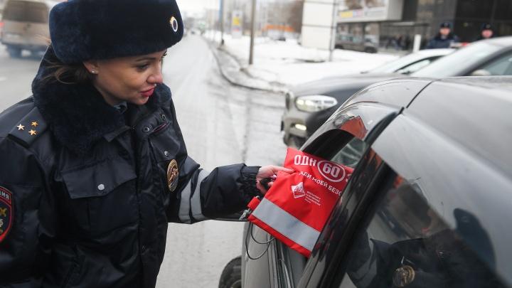В Екатеринбурге сотрудницы ГИБДД, похожие на моделей, поздравили мужчин с 23 Февраля: фоторепортаж