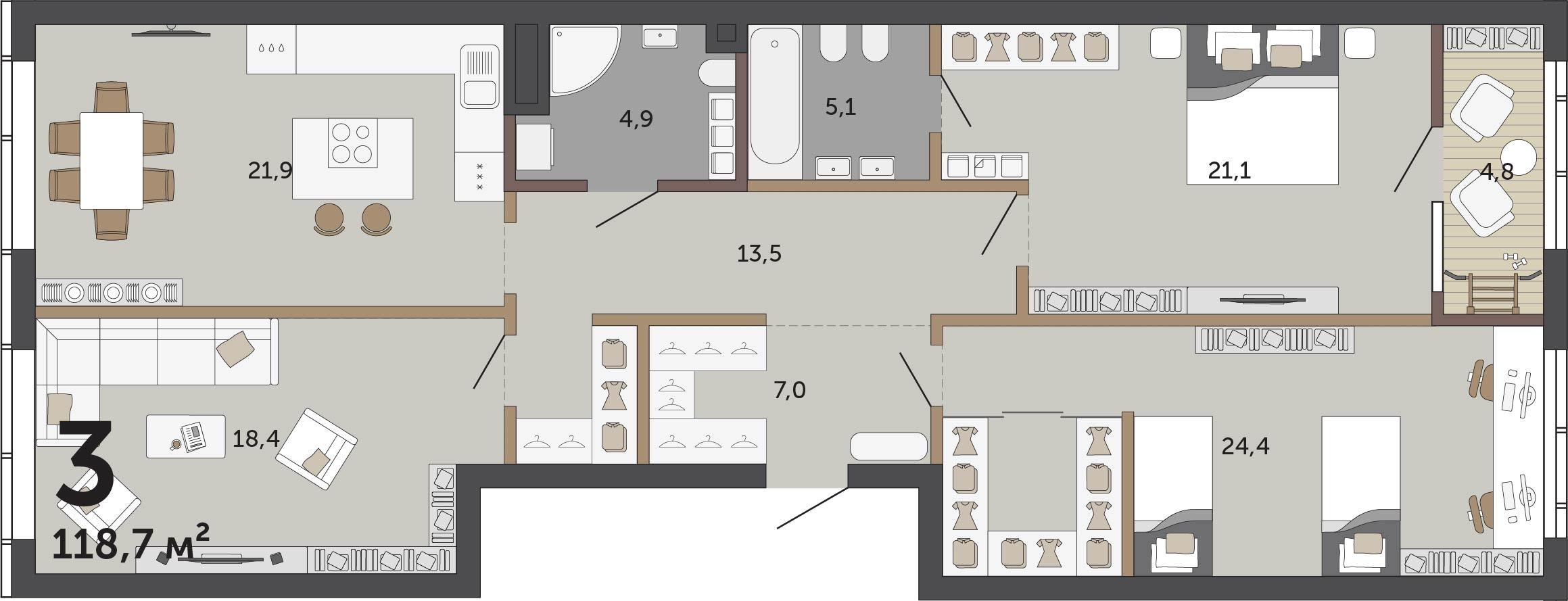 В этой квартире легко организовать гостевое пространство и приватное — только для членов семьи