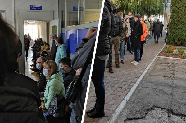 Вот такие очереди были в тольяттинской поликлинике